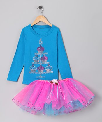 Blue '6' Cupcake Tee & Tutu - Girls