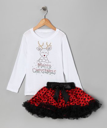 White Reindeer Tee & Red Pettiskirt - Infant, Toddler & Girls