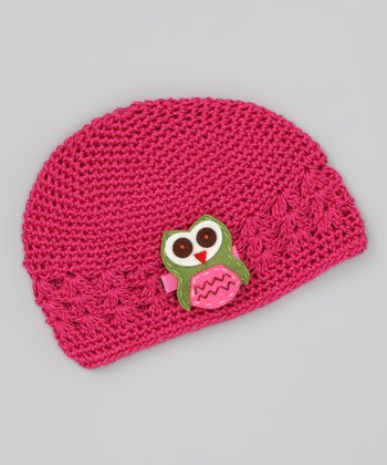 Hot Pink & Green Owl Knit Beanie