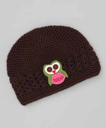 Brown & Green Owl Knit Beanie