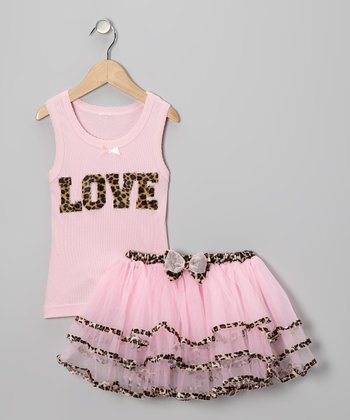 Pink Leopard 'Love' Tank & Tutu - Infant, Toddler & Girls