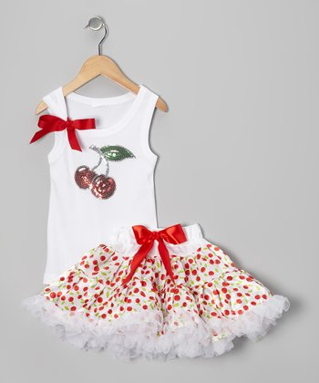 White Cherry Tank & Pettiskirt - Infant, Toddler & Girls