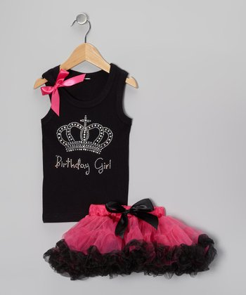 Black 'Birthday Girl' Tank & Pettiskirt - Infant, Toddler & Girls