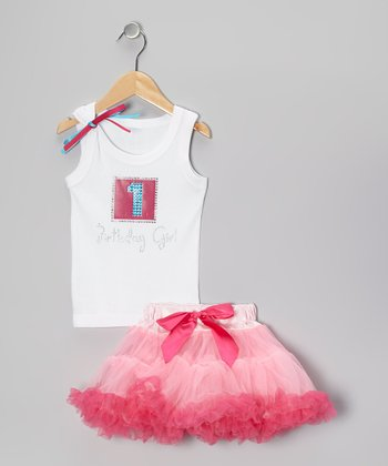 White '1 Birthday Girl' Tank & Pink Pettiskirt - Infant & Toddler
