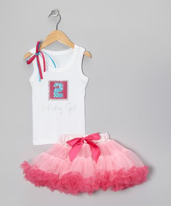 White '2 Birthday Girl' Tank & Pink Pettiskirt - Toddler & Girls