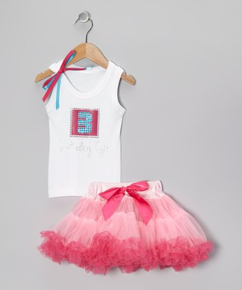 White '3 Birthday Girl' Tank & Pink Pettiskirt - Toddler & Girls