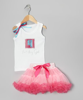 White '4 Birthday Girl' Tank & Pink Pettiskirt - Girls