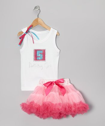 White '5 Birthday Girl' Tank & Pink Pettiskirt - Girls