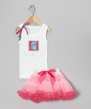 White '6 Birthday Girl' Tank & Pink Pettiskirt - Girls