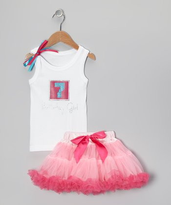 Pink '7 Birthday Girl' Tank & Pettiskirt - Girls