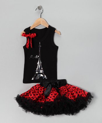 Black & Red Eiffel Tank & Pettiskirt - Infant, Toddler & Girls