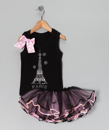 Black & Pink Eiffel Tank & Pettiskirt - Infant, Toddler & Girls