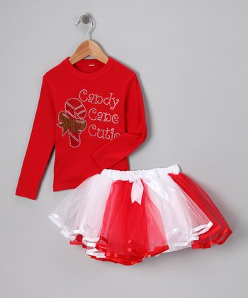 Red 'Candy Cane' Tee & Tutu - Infant, Toddler & Girls