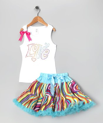 White 'Love' Tank & Pettiskirt - Infant, Toddler & Girls
