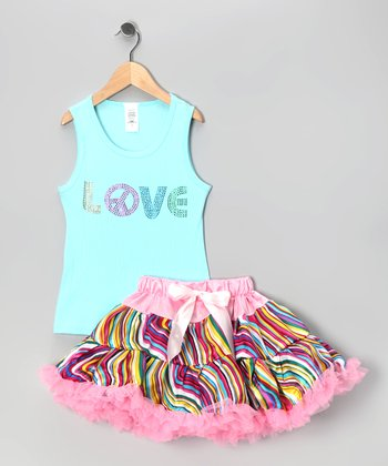 Blue 'Love' Tank & Pettiskirt - Infant, Toddler & Girls