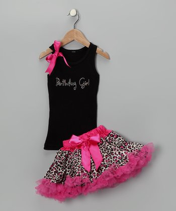 Black 'Birthday' Tank & Pink Pettiskirt - Infant, Toddler & Girls
