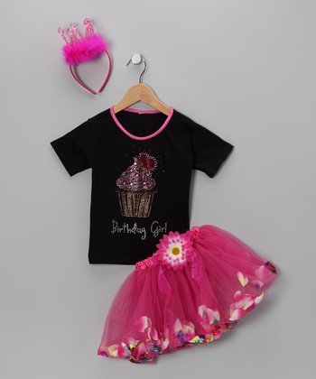 So Girly & Twirly Black 'Birthday' Tutu Set - Toddler & Girls