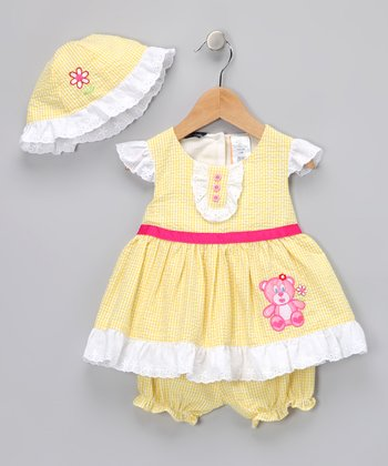 Yellow Bear Gingham Dress Set - Infant