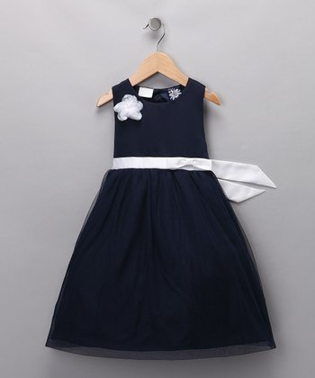 Navy Sequin Flower Dress - Toddler