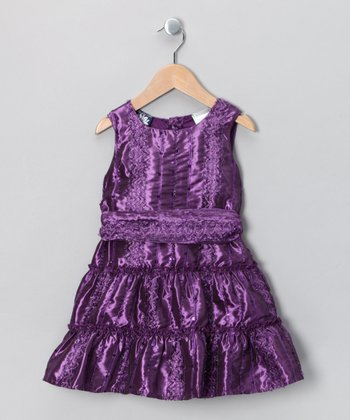 Purple Tiered Dress - Girls