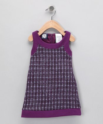 Purple Bouclé Shift Dress - Girls