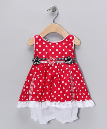 Red Polka Dot Seersucker Dress & Bloomers - Infant