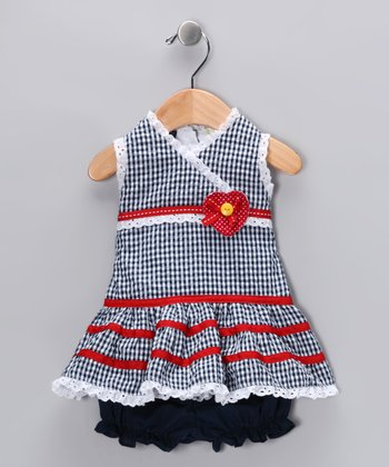 Navy Seersucker Surplice Dress & Bloomers - Infant