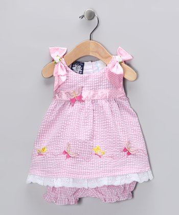 Pink Butterfly Seersucker Dress & Bloomers - Infant