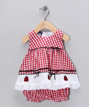 Red Ladybug Seersucker Dress & Bloomers - Infant