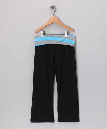 Black & Aqua Stripe Capri Pants