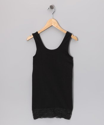 Black Lace-Trim Tank