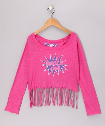 Pink Fringe 'Knock Out' Crop Top