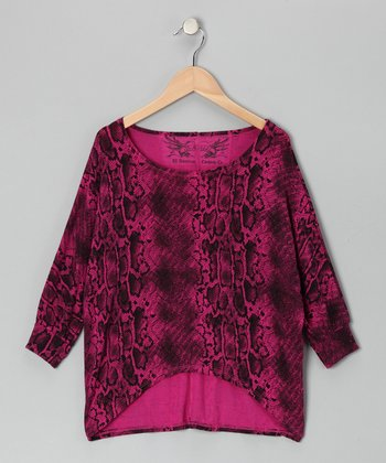 Bright Pink Snakeskin Dolman Top