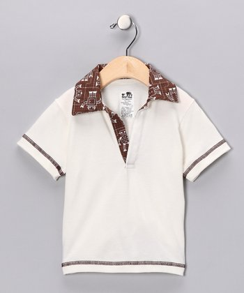 Natural & Chocolate Robot Polo - Infant, Toddler & Boys