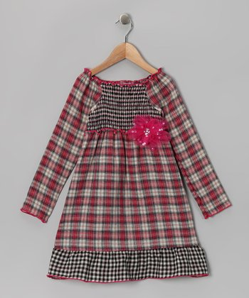 Fuchsia & Black Euro Plaid Ruffle Smocked Dress - Girls