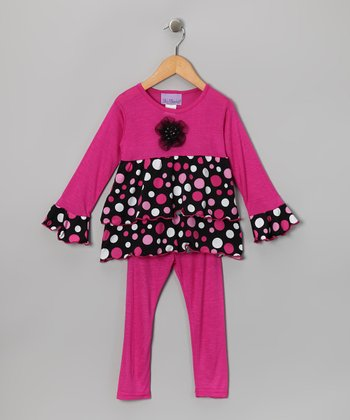 Pink & Black Polka Dot Ruffle Top & Leggings - Toddler & Girls
