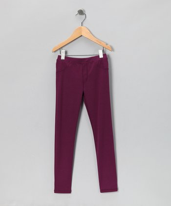 Plum Ponti Leggings - Infant, Toddler & Girls