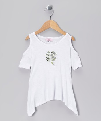 White Shamrock Cutout Sidetail Top - Toddler & Girls