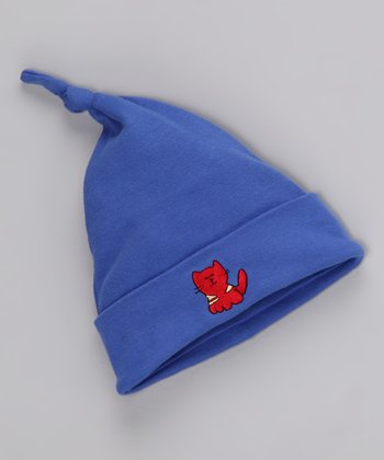 Blue & Red Cat Single-Knot Beanie