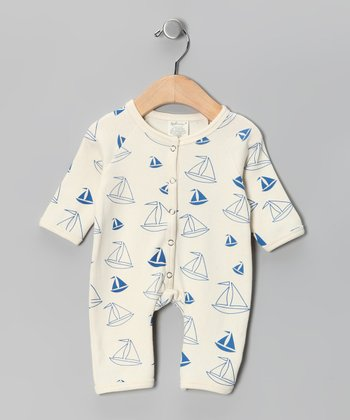 Neutral White & Blue Boat Organic Playsuit