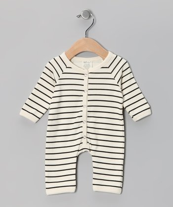 Neutral White & Black Stripe Organic Playsuit - Infant