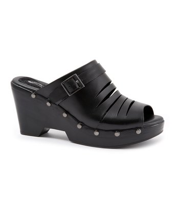 Black Coloma Peep-Toe Slide
