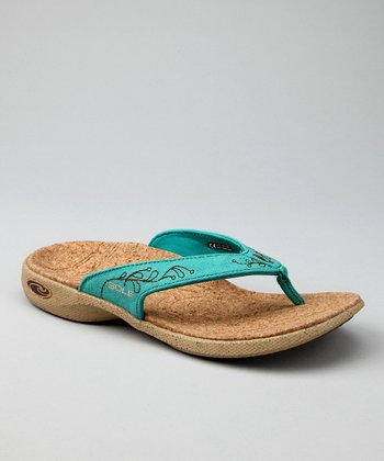 Adega Teal Casual Flip-Flop - Women