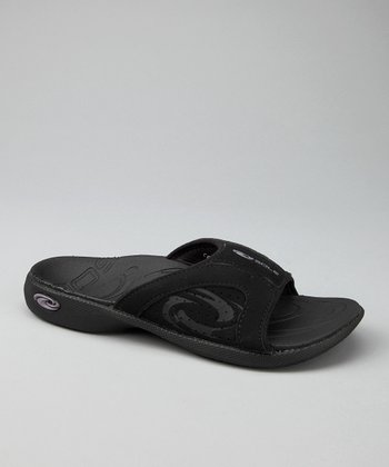 Jet Black Sport Slide - Women