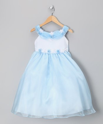 Sky Blue Floral Two-Tone Tulle Dress - Infant, Toddler & Girls