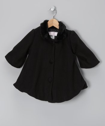 Black Faux Fur Fleece Swing Coat - Infant, Toddler & Girls