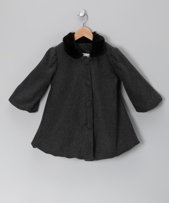 Charcoal Faux Fur Fleece Swing Coat - Infant & Girls