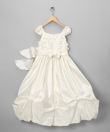 Ivory Floral Appliqué Dress - Toddler & Girls