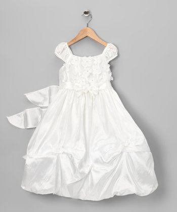 Off-White Floral Appliqué Dress - Infant