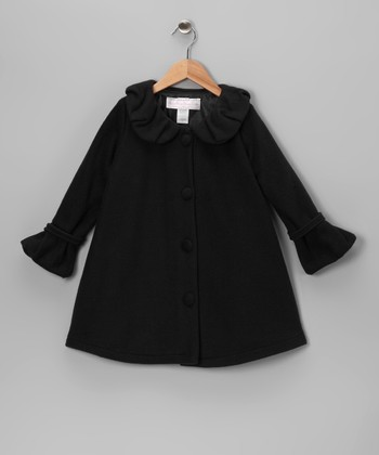 Black Polar Fleece Swing Coat - Infant, Toddler & Girls
